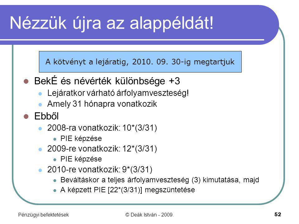 Pénzügyi befektetések© Deák István - 2009.52 Nézzük újra az alappéldát! BekÉ és névérték különbsége +3 Lejáratkor várható árfolyamveszteség! Amely 31