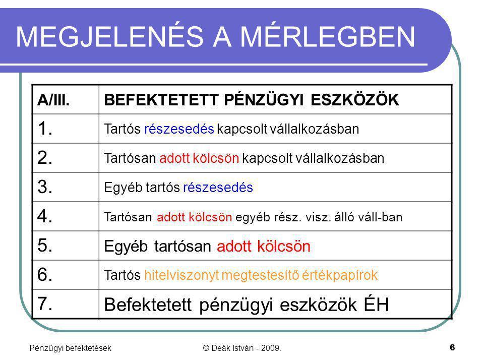 Pénzügyi befektetések© Deák István - 2009.6 MEGJELENÉS A MÉRLEGBEN A/III.BEFEKTETETT PÉNZÜGYI ESZKÖZÖK 1. Tartós részesedés kapcsolt vállalkozásban 2.