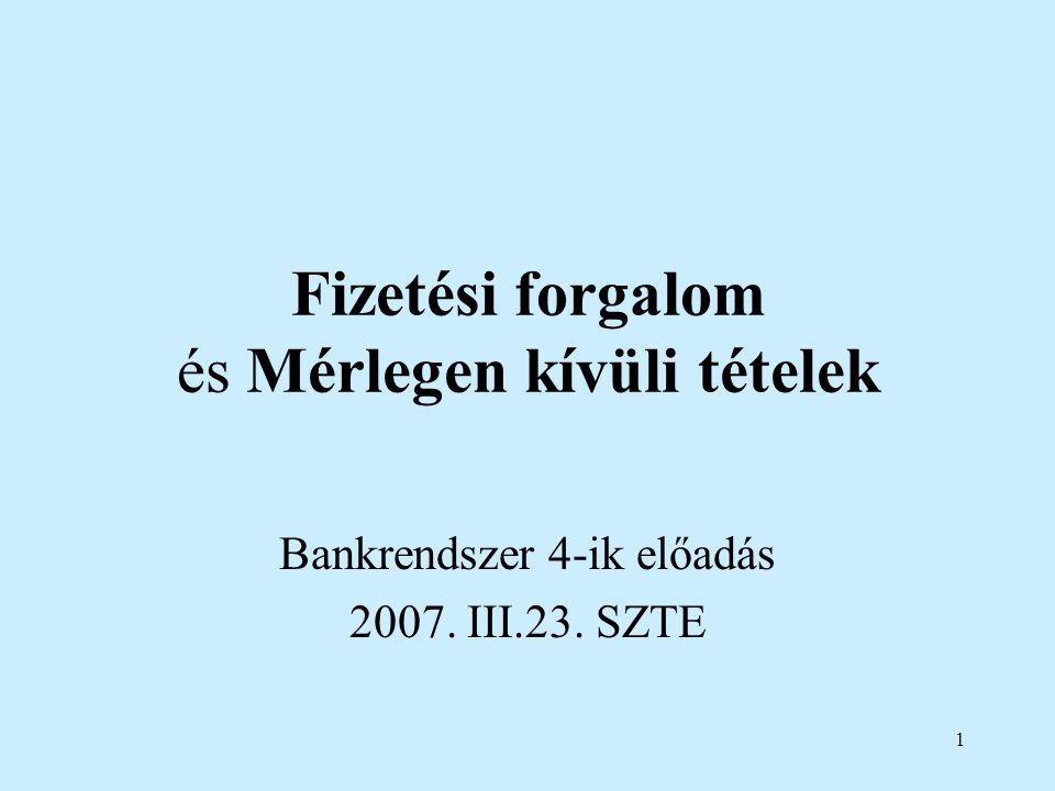 1 Fizetési forgalom és Mérlegen kívüli tételek Bankrendszer 4-ik előadás 2007. III.23. SZTE
