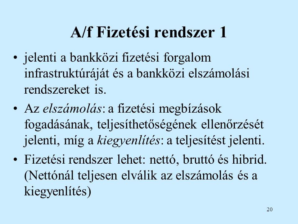 20 A/f Fizetési rendszer 1 jelenti a bankközi fizetési forgalom infrastruktúráját és a bankközi elszámolási rendszereket is. Az elszámolás: a fizetési