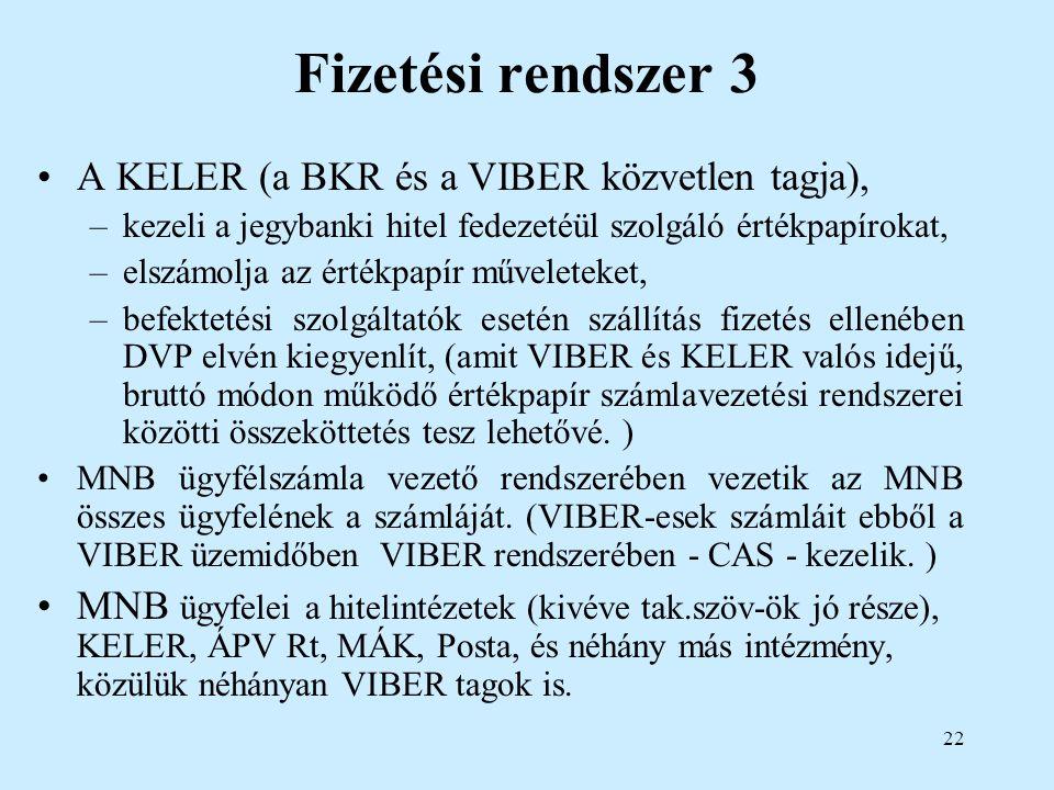 22 Fizetési rendszer 3 A KELER (a BKR és a VIBER közvetlen tagja), –kezeli a jegybanki hitel fedezetéül szolgáló értékpapírokat, –elszámolja az értékp
