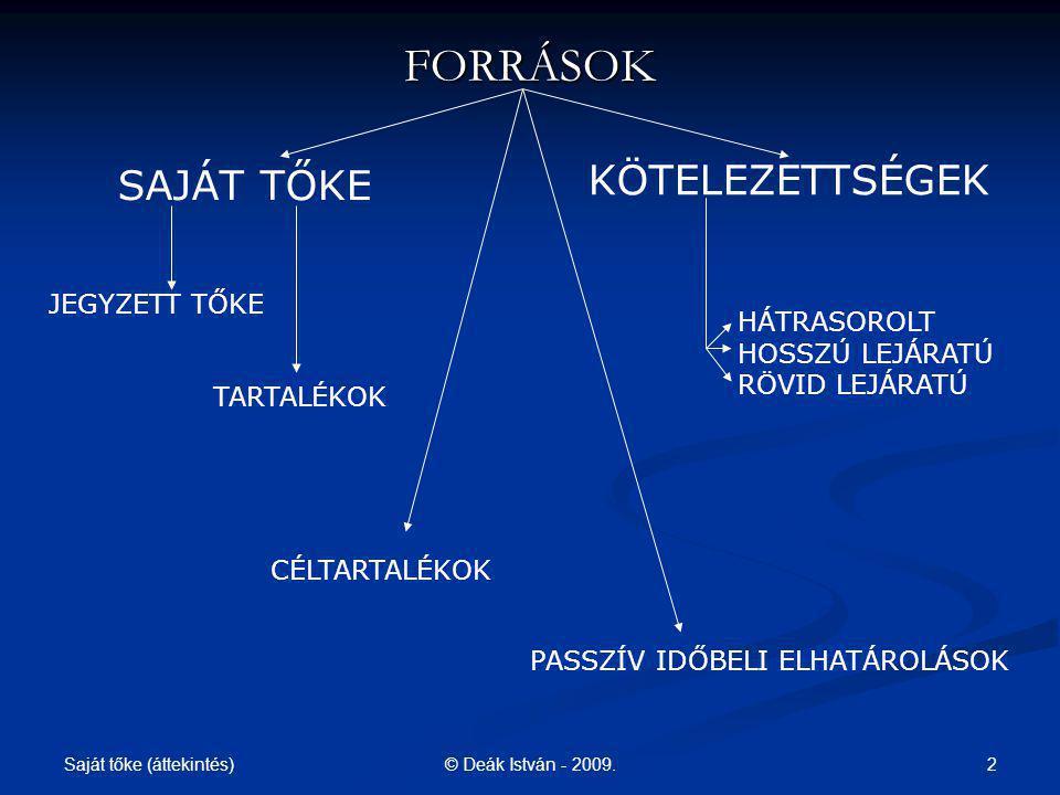 Saját tőke (áttekintés) 23© Deák István - 2009.