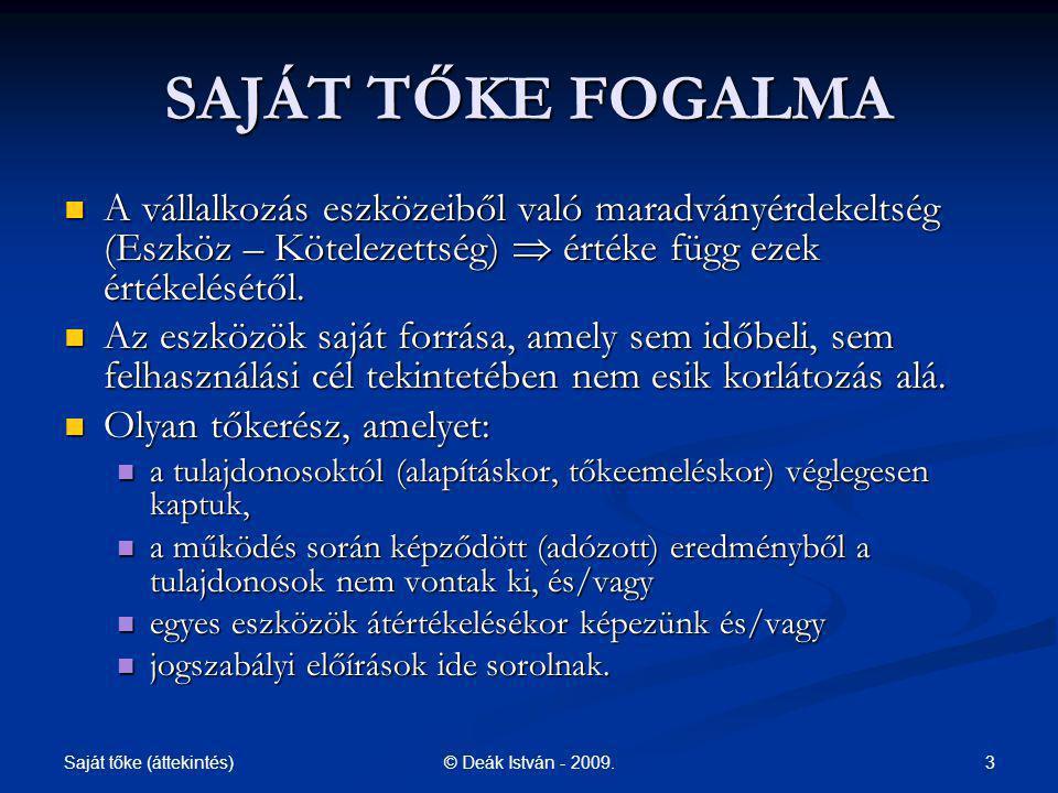 Saját tőke (áttekintés) 14© Deák István - 2009.
