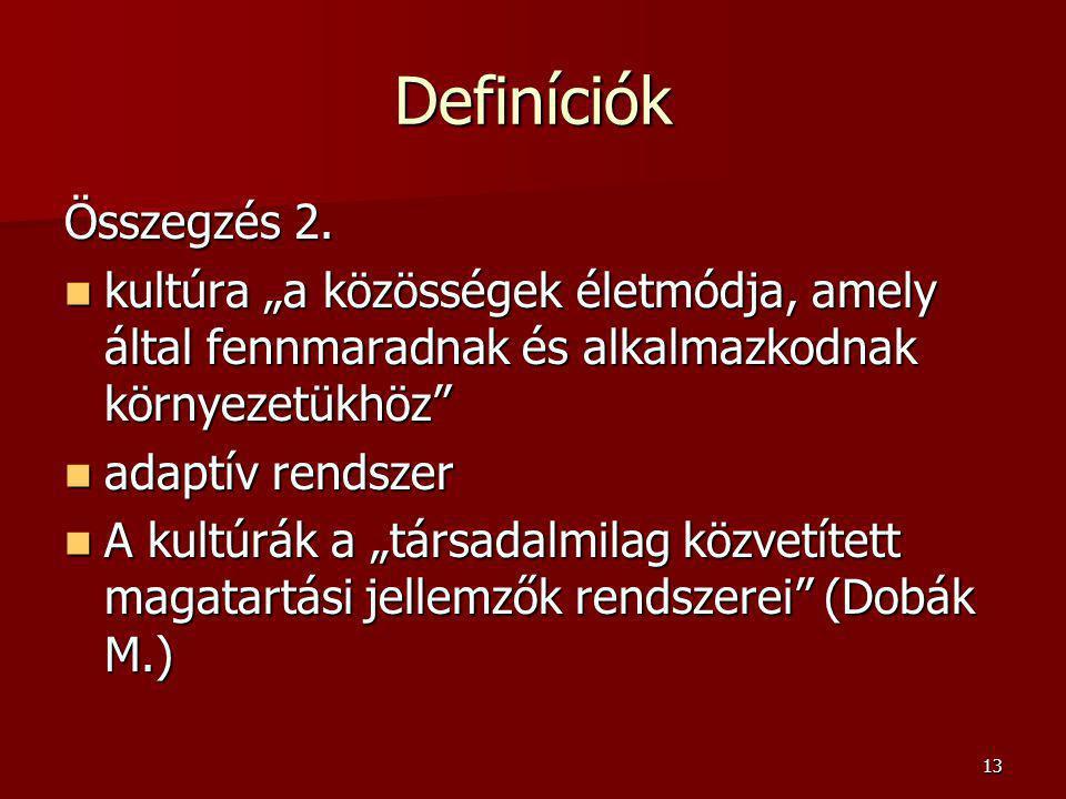 """13 Definíciók Összegzés 2. kultúra """"a közösségek életmódja, amely által fennmaradnak és alkalmazkodnak környezetükhöz"""" kultúra """"a közösségek életmódja"""