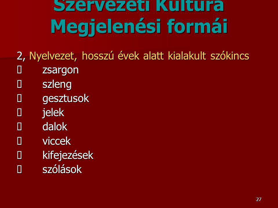 27 Szervezeti Kultúra Megjelenési formái 2, Nyelvezet, hosszú évek alatt kialakult szókincs  zsargon  szleng  gesztusok  jelek  dalok  viccek 