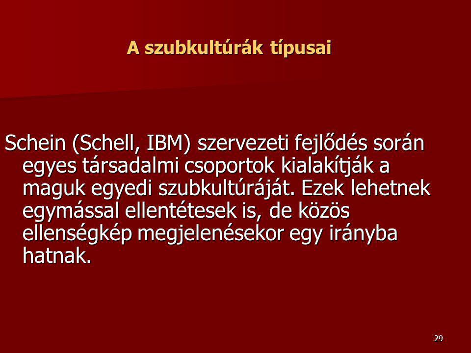 29 A szubkultúrák típusai Schein (Schell, IBM) szervezeti fejlődés során egyes társadalmi csoportok kialakítják a maguk egyedi szubkultúráját. Ezek le