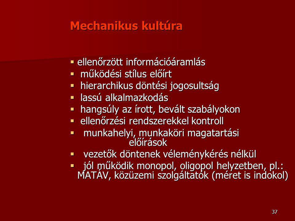 37 Mechanikus kultúra  ellenőrzött információáramlás  működési stílus előírt  hierarchikus döntési jogosultság  lassú alkalmazkodás  hangsúly az