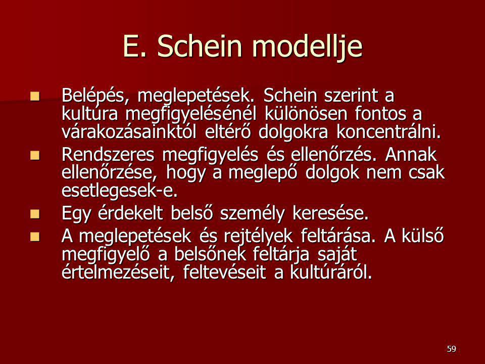 59 E. Schein modellje Belépés, meglepetések. Schein szerint a kultúra megfigyelésénél különösen fontos a várakozásainktól eltérő dolgokra koncentrálni