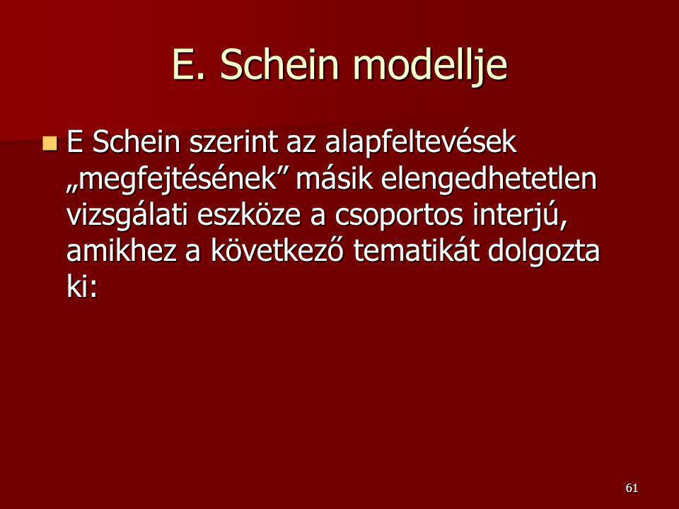 """61 E. Schein modellje E Schein szerint az alapfeltevések """"megfejtésének"""" másik elengedhetetlen vizsgálati eszköze a csoportos interjú, amikhez a követ"""