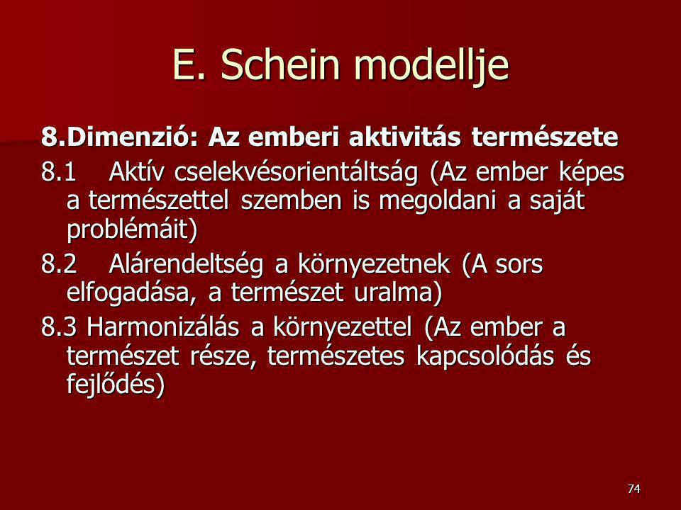 74 E. Schein modellje 8.Dimenzió: Az emberi aktivitás természete 8.1 Aktív cselekvésorientáltság (Az ember képes a természettel szemben is megoldani a