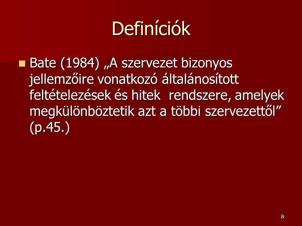 """8 Definíciók Bate (1984) """"A szervezet bizonyos jellemzőire vonatkozó általánosított feltételezések és hitek rendszere, amelyek megkülönböztetik azt a többi szervezettől (p.45.) Bate (1984) """"A szervezet bizonyos jellemzőire vonatkozó általánosított feltételezések és hitek rendszere, amelyek megkülönböztetik azt a többi szervezettől (p.45.)"""