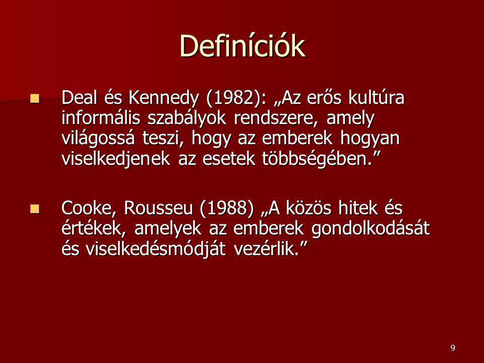 """9 Definíciók Deal és Kennedy (1982): """"Az erős kultúra informális szabályok rendszere, amely világossá teszi, hogy az emberek hogyan viselkedjenek az esetek többségében. Deal és Kennedy (1982): """"Az erős kultúra informális szabályok rendszere, amely világossá teszi, hogy az emberek hogyan viselkedjenek az esetek többségében. Cooke, Rousseu (1988) """"A közös hitek és értékek, amelyek az emberek gondolkodását és viselkedésmódját vezérlik. Cooke, Rousseu (1988) """"A közös hitek és értékek, amelyek az emberek gondolkodását és viselkedésmódját vezérlik."""