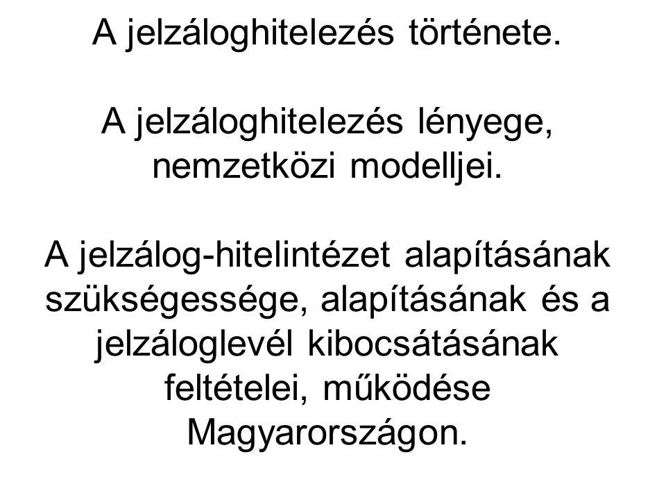 2 Irodalom Botos Katalin: Különleges pénzügyi intézmények (2002) Kovács György: Konferencia kötet (2004) Várhegyi Éva: A földjelzálog-hitelezés (Bankszemle 1997/1.) Tallér Anikó: Az önálló zálogjog (Bankszemle) Vincze Judit: A jelzáloglevelek piaci helyzete (Hitelintézeti Szemle 2002/3.)