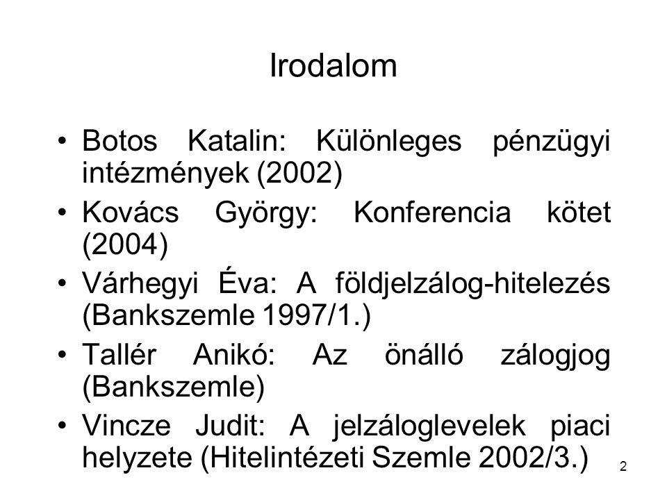 2 Irodalom Botos Katalin: Különleges pénzügyi intézmények (2002) Kovács György: Konferencia kötet (2004) Várhegyi Éva: A földjelzálog-hitelezés (Banks