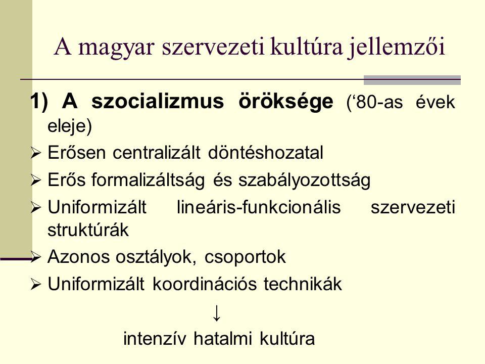 A magyar szervezeti kultúra jellemzői 1) A szocializmus öröksége ('80-as évek eleje)  Erősen centralizált döntéshozatal  Erős formalizáltság és szab