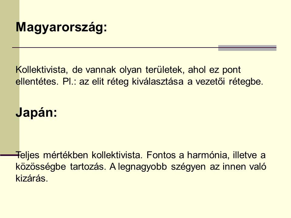 Magyarország: Kollektivista, de vannak olyan területek, ahol ez pont ellentétes. Pl.: az elit réteg kiválasztása a vezetői rétegbe. Japán: Teljes mért