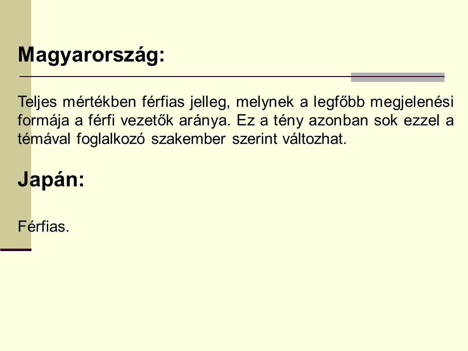 Magyarország: Teljes mértékben férfias jelleg, melynek a legfőbb megjelenési formája a férfi vezetők aránya. Ez a tény azonban sok ezzel a témával fog