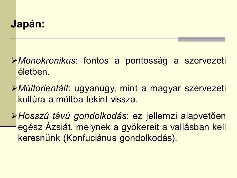 Japán:  Monokronikus: fontos a pontosság a szervezeti életben.  Múltorientált: ugyanúgy, mint a magyar szervezeti kultúra a múltba tekint vissza. 