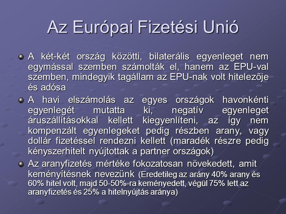 Az Európai Fizetési Unió A két-két ország közötti, bilaterális egyenleget nem egymással szemben számolták el, hanem az EPU-val szemben, mindegyik tagá