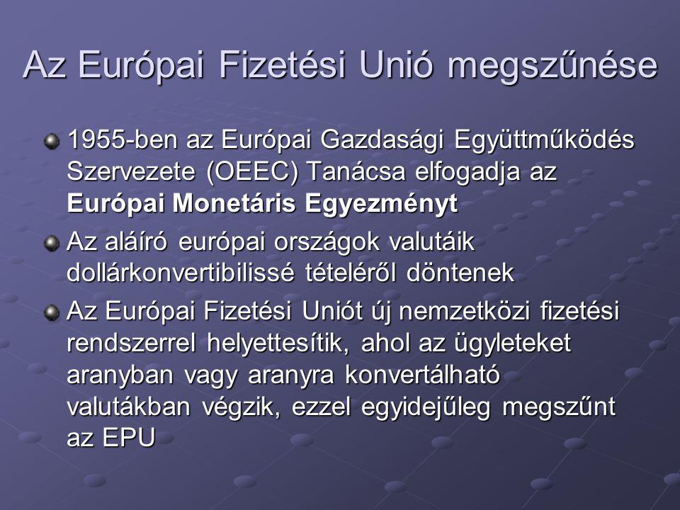 Az Európai Fizetési Unió megszűnése 1955-ben az Európai Gazdasági Együttműködés Szervezete (OEEC) Tanácsa elfogadja az Európai Monetáris Egyezményt Az