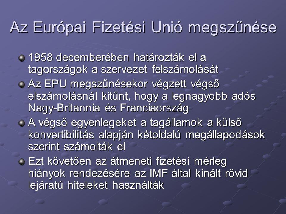Az Európai Fizetési Unió megszűnése 1958 decemberében határozták el a tagországok a szervezet felszámolását Az EPU megszűnésekor végzett végső elszámo