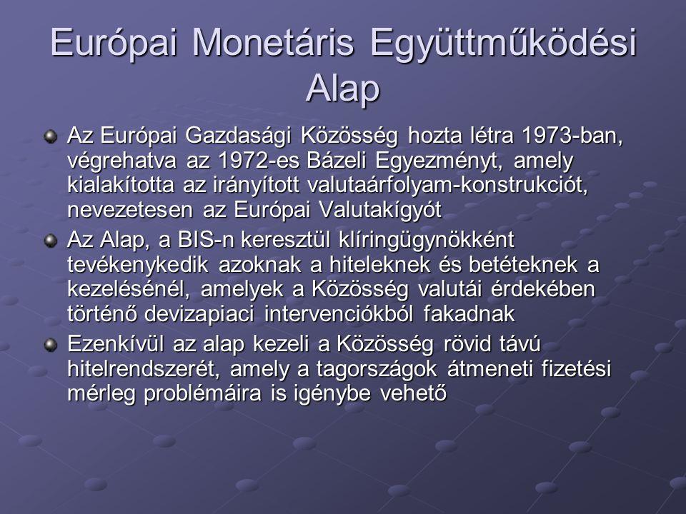 Európai Monetáris Együttműködési Alap Az Európai Gazdasági Közösség hozta létra 1973-ban, végrehatva az 1972-es Bázeli Egyezményt, amely kialakította