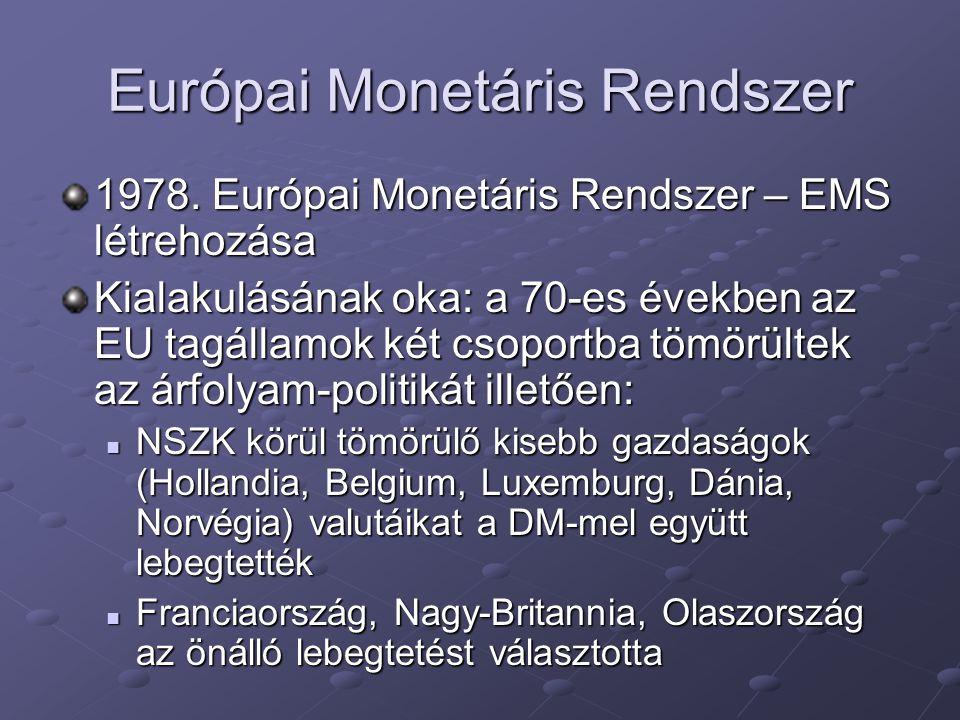Európai Monetáris Rendszer 1978. Európai Monetáris Rendszer – EMS létrehozása Kialakulásának oka: a 70-es években az EU tagállamok két csoportba tömör