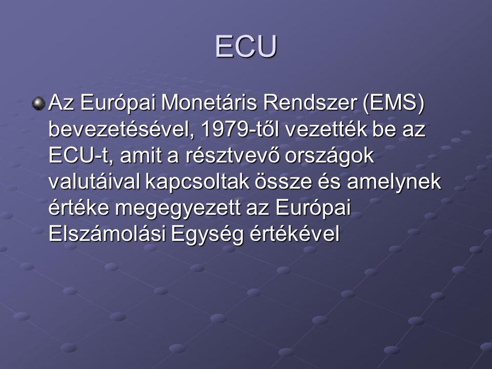 ECU Az Európai Monetáris Rendszer (EMS) bevezetésével, 1979-től vezették be az ECU-t, amit a résztvevő országok valutáival kapcsoltak össze és amelyne