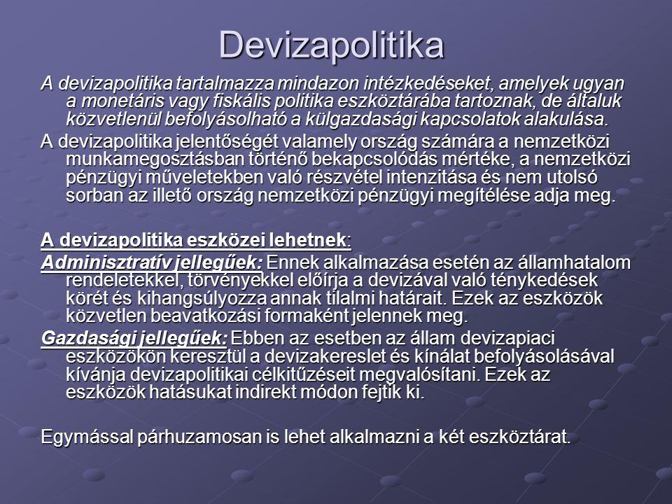 Devizapolitika A devizapolitika tartalmazza mindazon intézkedéseket, amelyek ugyan a monetáris vagy fiskális politika eszköztárába tartoznak, de által