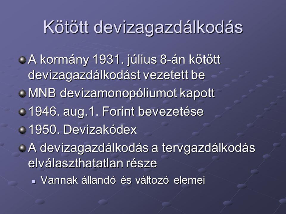 Kötött devizagazdálkodás A kormány 1931. július 8-án kötött devizagazdálkodást vezetett be MNB devizamonopóliumot kapott 1946. aug.1. Forint bevezetés