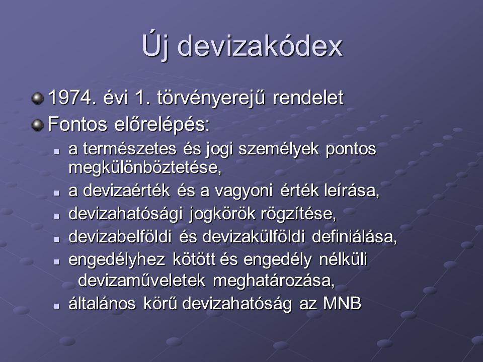 Új devizakódex 1974. évi 1. törvényerejű rendelet Fontos előrelépés: a természetes és jogi személyek pontos megkülönböztetése, a természetes és jogi s