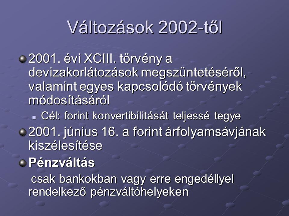 Változások 2002-től 2001. évi XCIII. törvény a devizakorlátozások megszüntetéséről, valamint egyes kapcsolódó törvények módosításáról Cél: forint konv