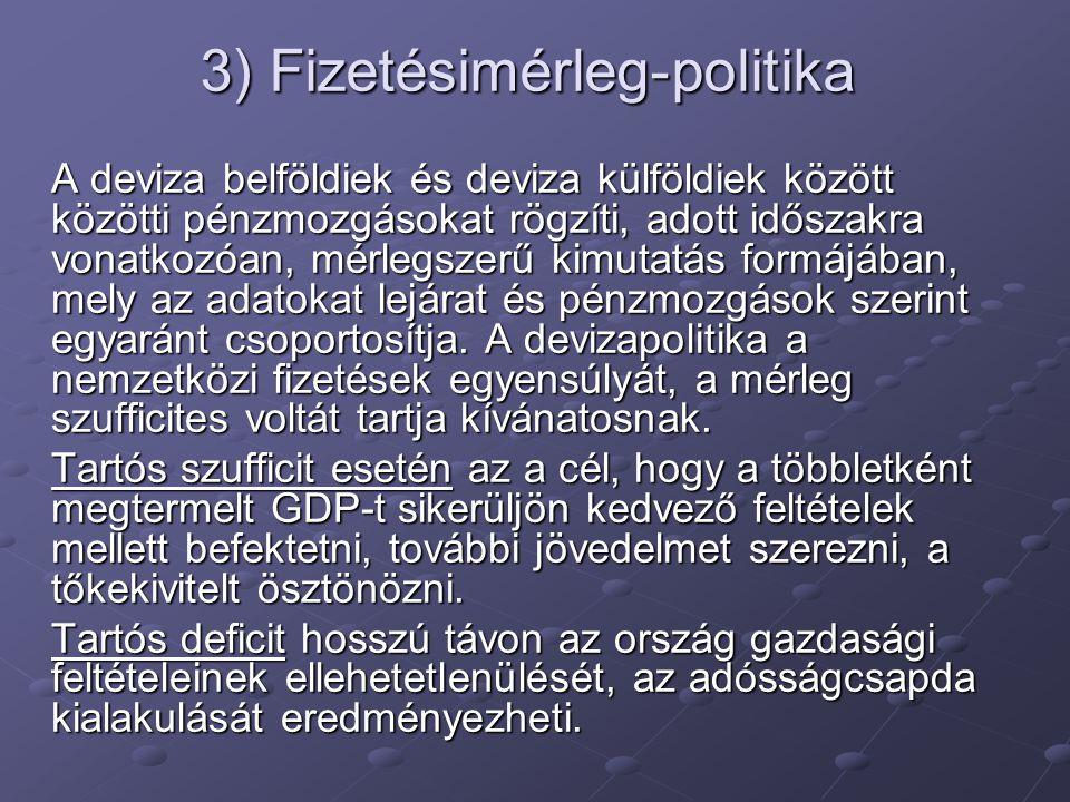 3) Fizetésimérleg-politika A deviza belföldiek és deviza külföldiek között közötti pénzmozgásokat rögzíti, adott időszakra vonatkozóan, mérlegszerű ki