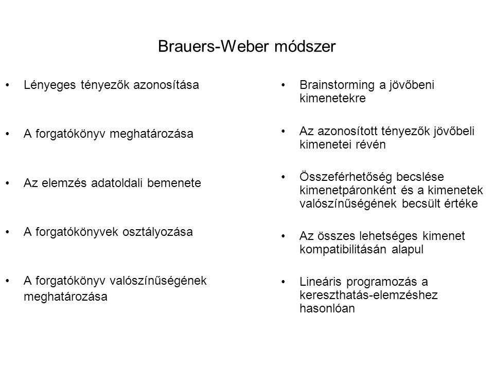 Brauers-Weber módszer Lényeges tényezők azonosítása A forgatókönyv meghatározása Az elemzés adatoldali bemenete A forgatókönyvek osztályozása A forgat