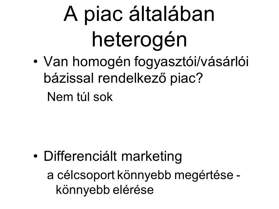 A piac általában heterogén Van homogén fogyasztói/vásárlói bázissal rendelkező piac? Nem túl sok Differenciált marketing a célcsoport könnyebb megérté