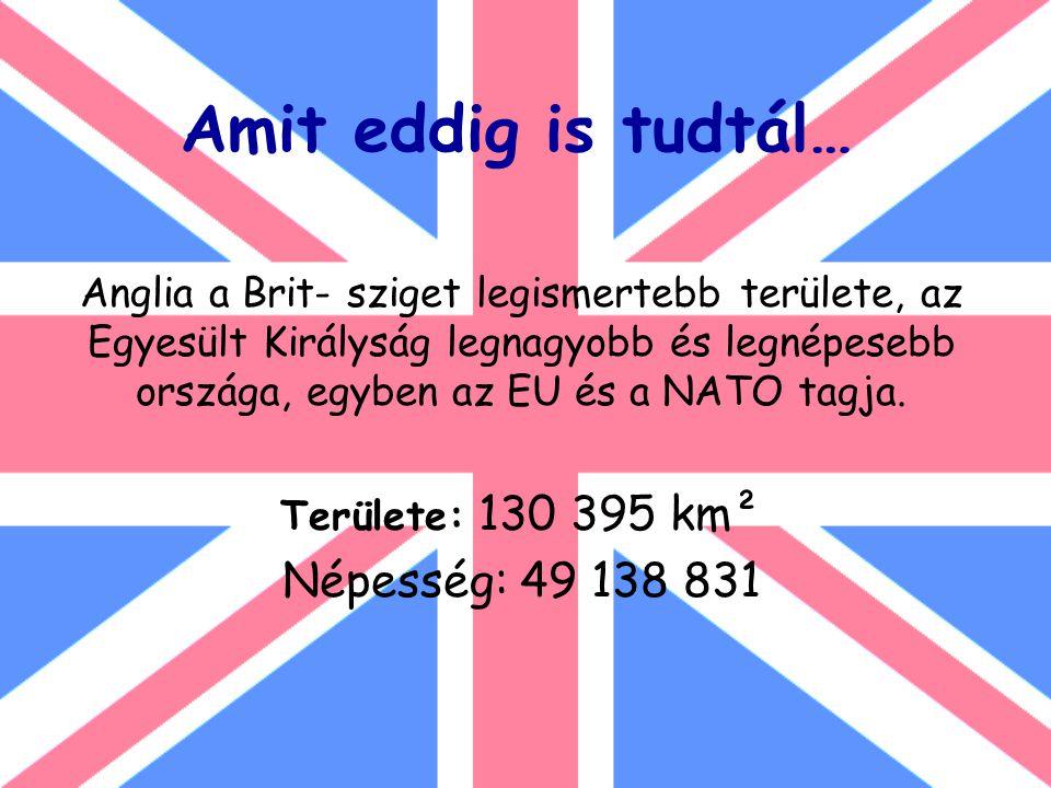 Amit eddig is tudtál… Anglia a Brit- sziget legismertebb területe, az Egyesült Királyság legnagyobb és legnépesebb országa, egyben az EU és a NATO tagja.