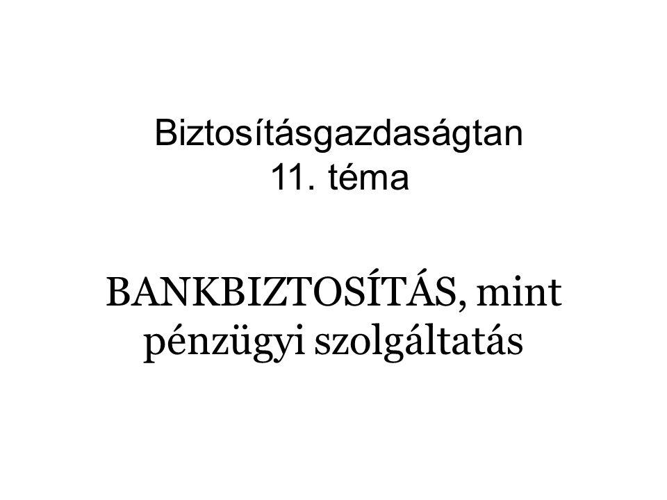 BANKBIZTOSÍTÁS, mint pénzügyi szolgáltatás Biztosításgazdaságtan 11. téma