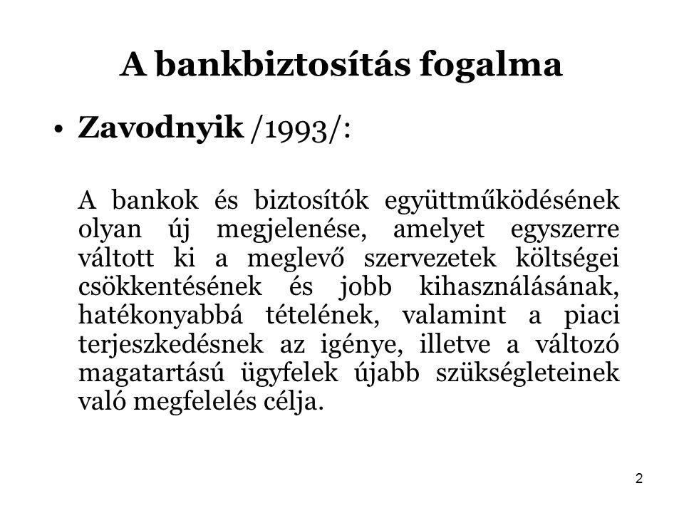 2 A bankbiztosítás fogalma Zavodnyik /1993/: A bankok és biztosítók együttműködésének olyan új megjelenése, amelyet egyszerre váltott ki a meglevő sze