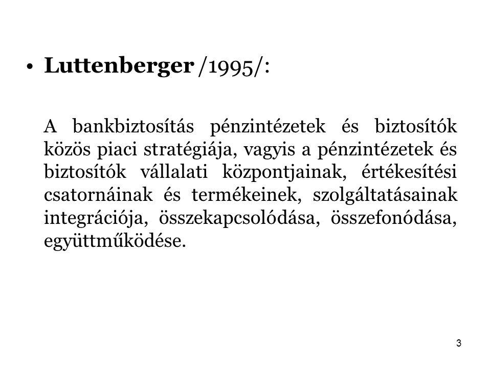 3 Luttenberger /1995/: A bankbiztosítás pénzintézetek és biztosítók közös piaci stratégiája, vagyis a pénzintézetek és biztosítók vállalati központjai