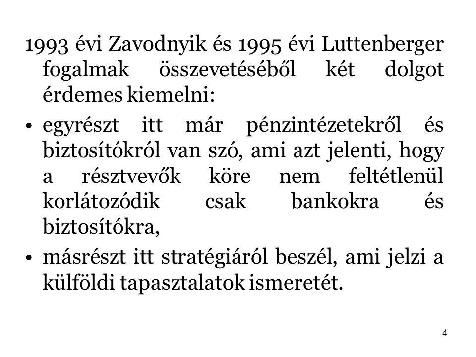 4 1993 évi Zavodnyik és 1995 évi Luttenberger fogalmak összevetéséből két dolgot érdemes kiemelni: egyrészt itt már pénzintézetekről és biztosítókról