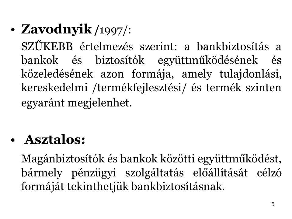 5 Zavodnyik /1997/: SZŰKEBB értelmezés szerint: a bankbiztosítás a bankok és biztosítók együttműködésének és közeledésének azon formája, amely tulajdo