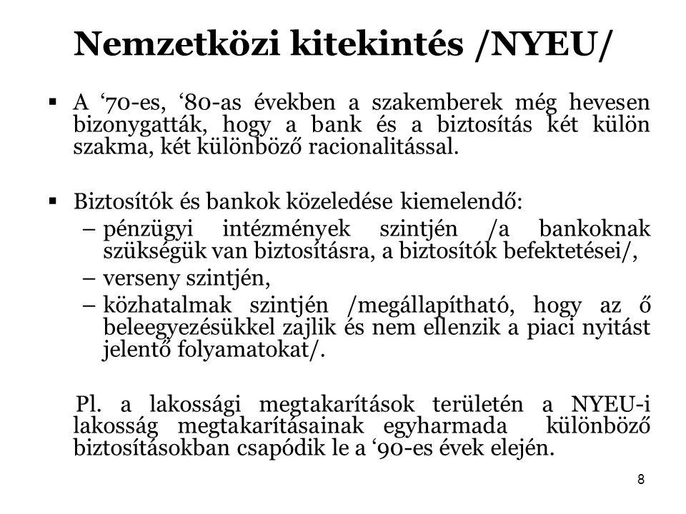 8 Nemzetközi kitekintés /NYEU/  A '70-es, '80-as években a szakemberek még hevesen bizonygatták, hogy a bank és a biztosítás két külön szakma, két kü