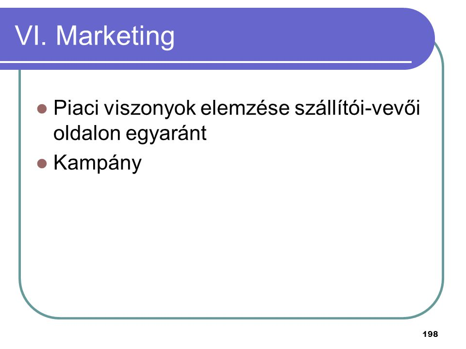 198 VI. Marketing Piaci viszonyok elemzése szállítói-vevői oldalon egyaránt Kampány