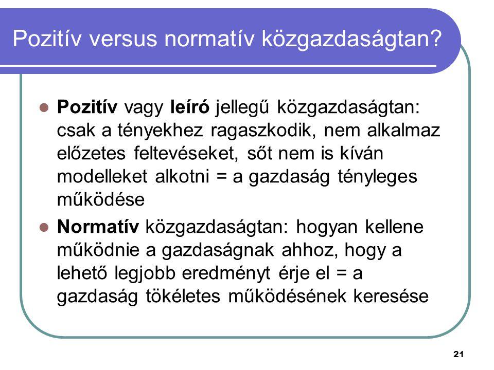 21 Pozitív versus normatív közgazdaságtan? Pozitív vagy leíró jellegű közgazdaságtan: csak a tényekhez ragaszkodik, nem alkalmaz előzetes feltevéseket