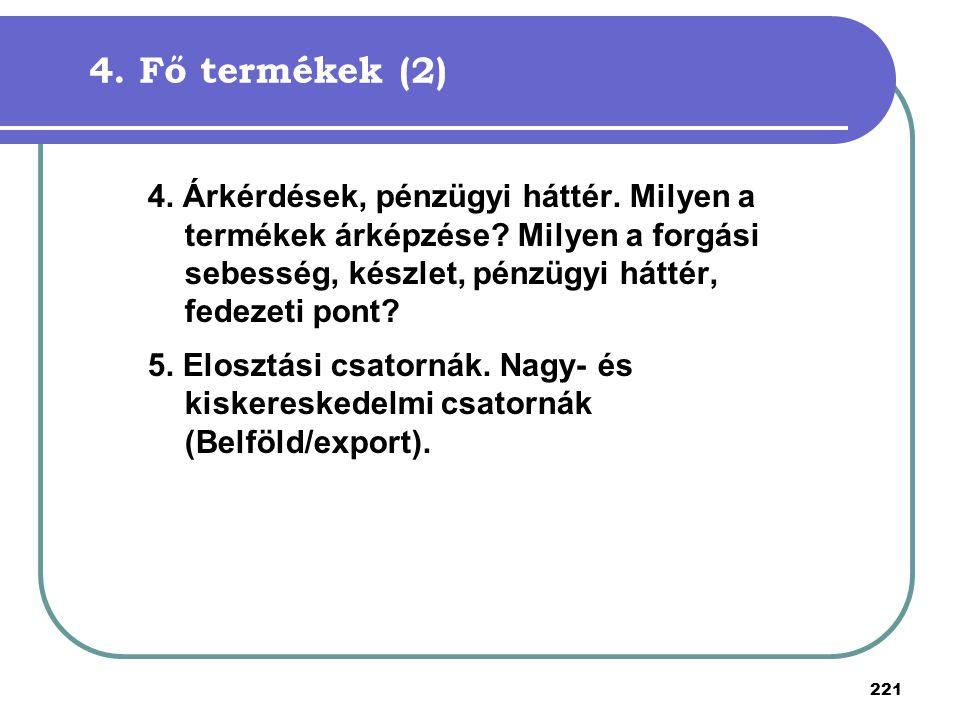 221 4. Fő termékek (2) 4. Árkérdések, pénzügyi háttér. Milyen a termékek árképzése? Milyen a forgási sebesség, készlet, pénzügyi háttér, fedezeti pont