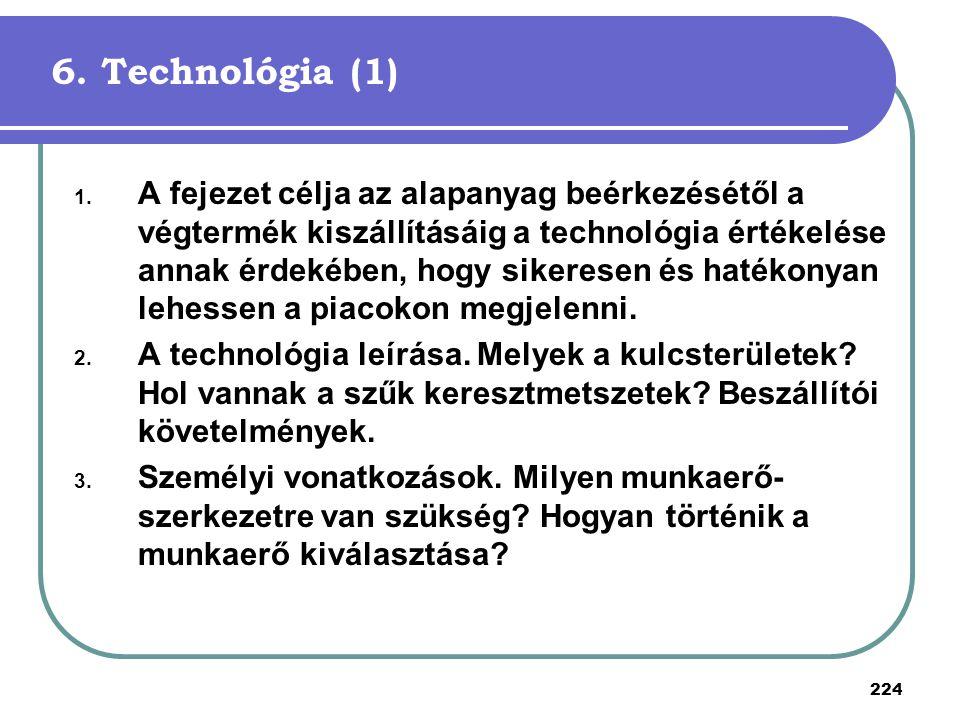 224 6. Technológia (1) 1. A fejezet célja az alapanyag beérkezésétől a végtermék kiszállításáig a technológia értékelése annak érdekében, hogy sikeres