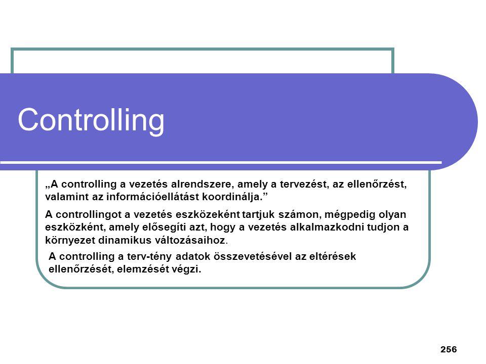 """256 Controlling """"A controlling a vezetés alrendszere, amely a tervezést, az ellenőrzést, valamint az információellátást koordinálja."""" A controllingot"""