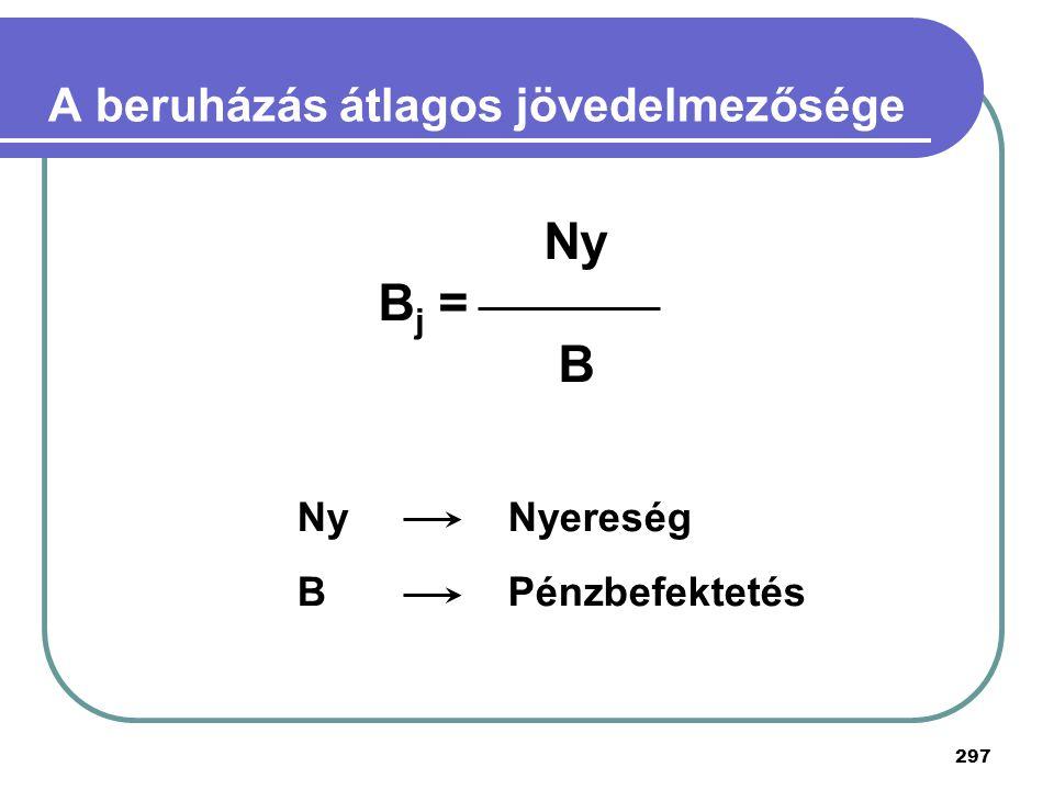 297 A beruházás átlagos jövedelmezősége Ny B j = B Ny Nyereség BPénzbefektetés