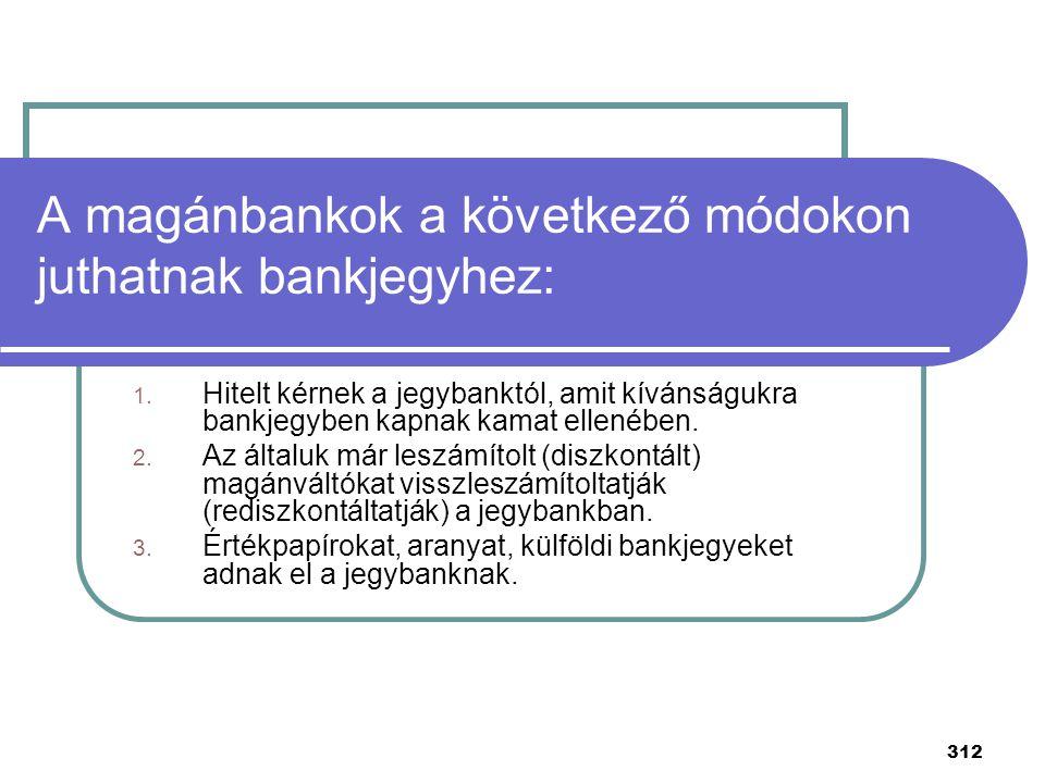 312 A magánbankok a következő módokon juthatnak bankjegyhez: 1. Hitelt kérnek a jegybanktól, amit kívánságukra bankjegyben kapnak kamat ellenében. 2.