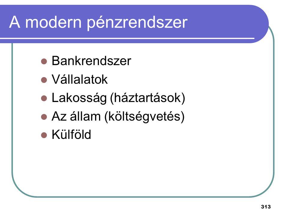 313 A modern pénzrendszer Bankrendszer Vállalatok Lakosság (háztartások) Az állam (költségvetés) Külföld
